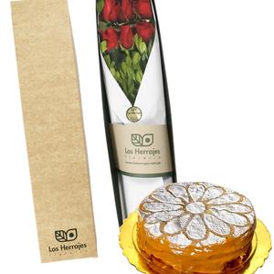 Caja x 6 Rosas + Alfajor Hojaldre